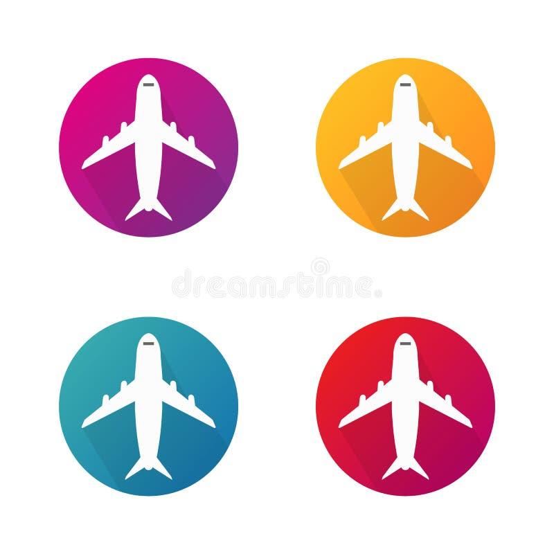 Flygplanvektorsymboler i cirkel Knappar för flygplanrundavektor för website Vektor EPS 10 royaltyfri illustrationer