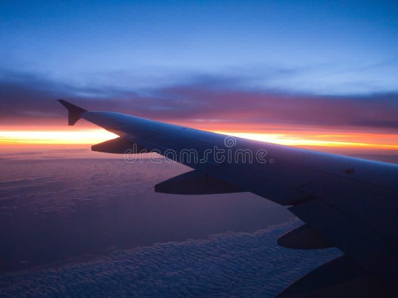 Flygplanvinge i solnedgång royaltyfria bilder