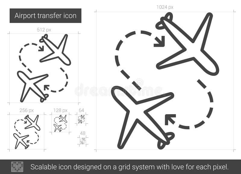 Flygplatsöverföringslinje symbol royaltyfri illustrationer