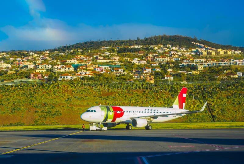 Flygplats av Funchal i madeiraön arkivfoto