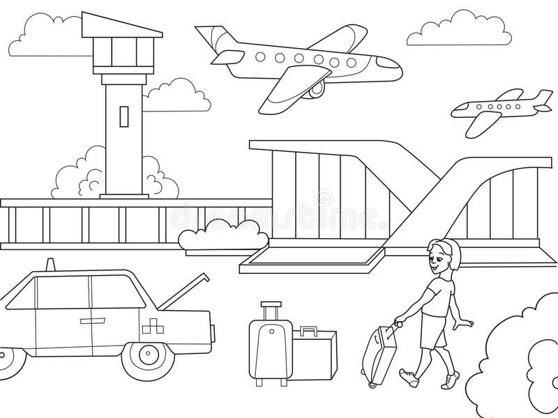 Flygplats för bok för tecknad filmbarnfärgläggning Svartvit vektor royaltyfri illustrationer