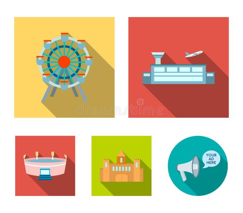 Flygplats ferrishjul, stadion, slott Byggande fastställda samlingssymboler i plant stilvektorsymbol lagerför illustrationrengörin royaltyfri illustrationer