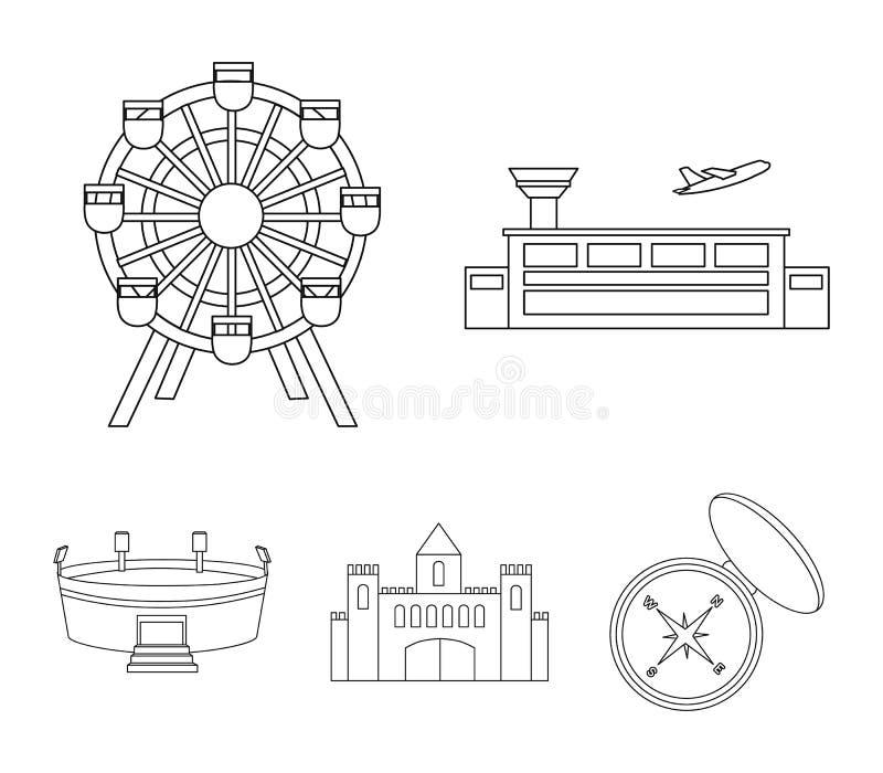 Flygplats ferrishjul, stadion, slott Byggande fastställda samlingssymboler i symbol för översiktsstilvektor lagerför illustration stock illustrationer
