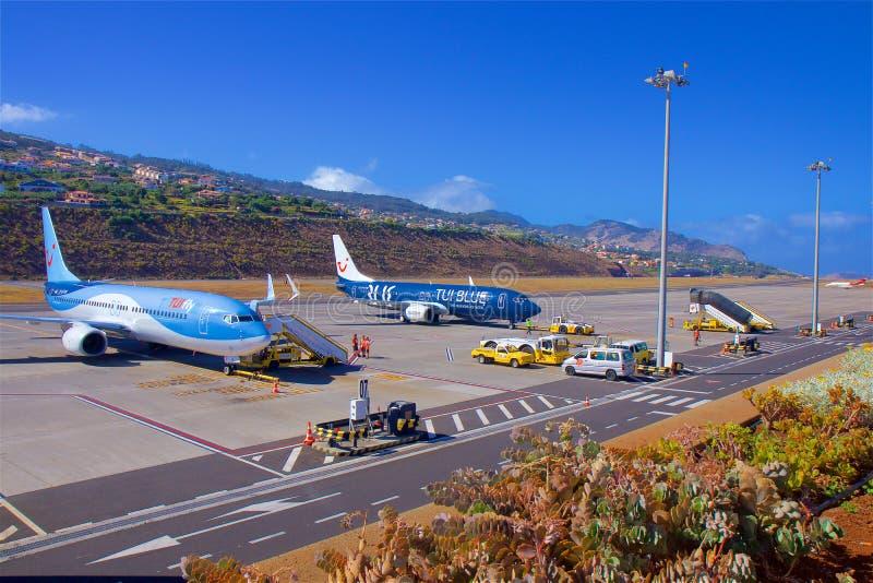 Flygplats i madeiran, Portugal royaltyfri bild
