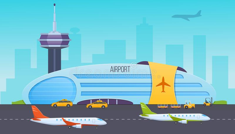 Flygplats landningsbana med flygplan, byggnad, inre av byggnad, omgeende område royaltyfri illustrationer