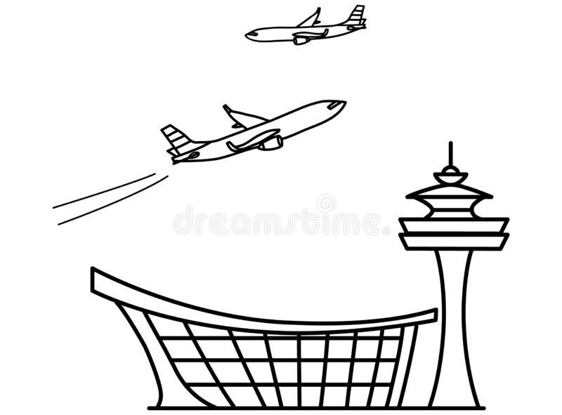 Flygplats Linje teckning vektor illustrationer