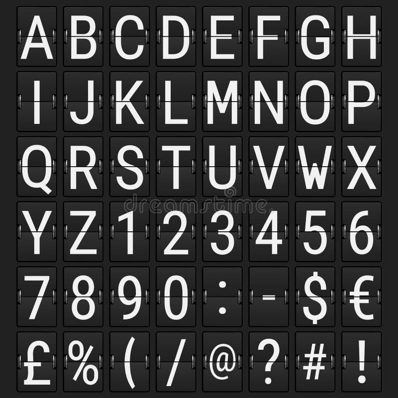 Flygplats mekaniska Flip Board Panel Font vektor illustrationer