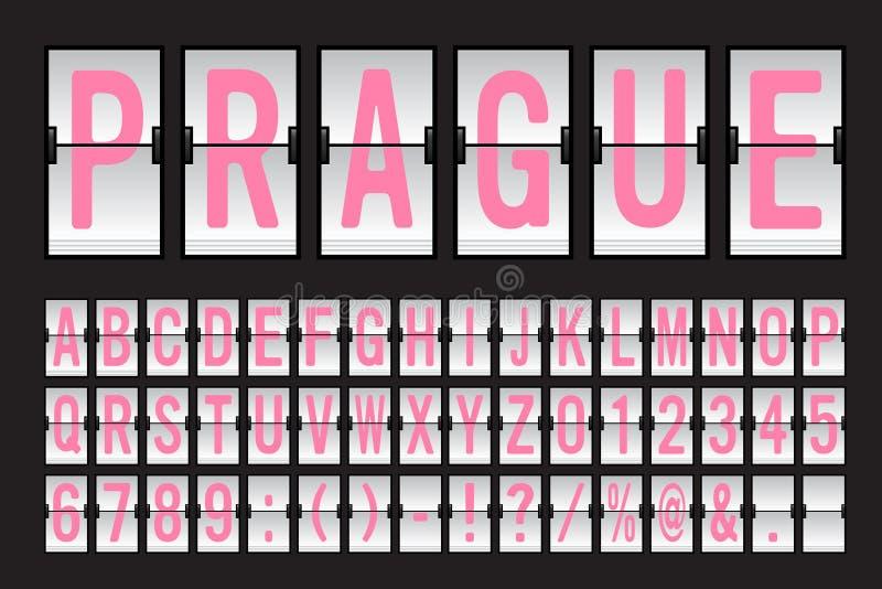 Flygplats mekaniska Flip Board Panel Font royaltyfri illustrationer