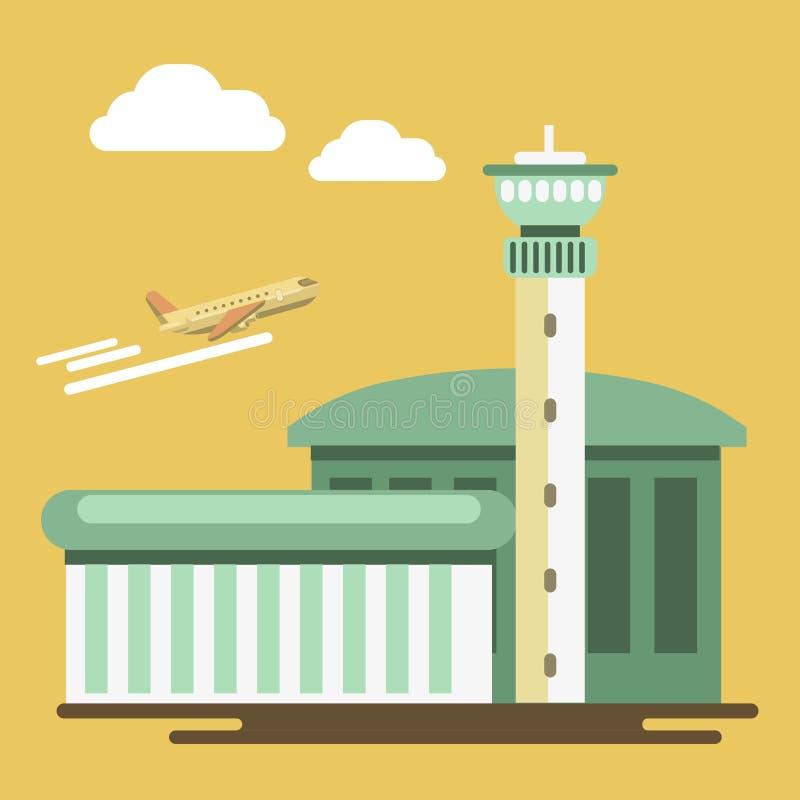 Flygplats och flygplan för vektor för sommarlopp- eller feriesemester royaltyfri illustrationer