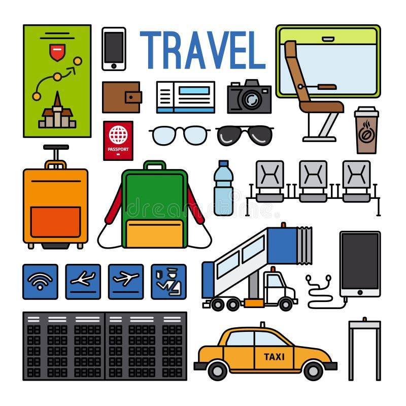 Flygplats och loppsymbolsuppsättning stock illustrationer