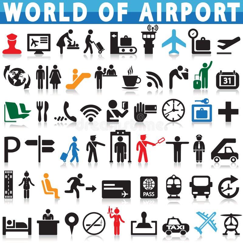 Flygplats och resande vektorsymboler stock illustrationer