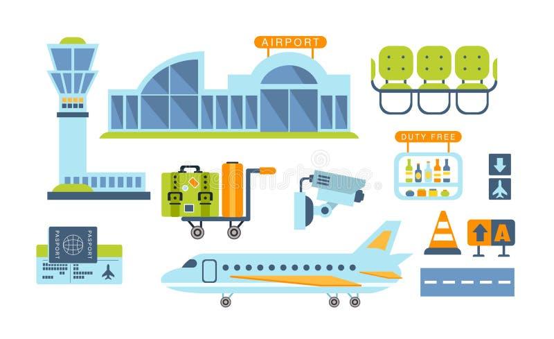 Flygplats släkt objektuppsättning royaltyfri illustrationer