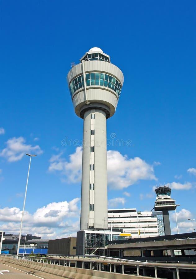 flygplatsamsterdam torn royaltyfria foton