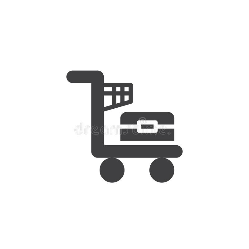 Flygplatsbagagespårvagn med bagagevektorsymbolen royaltyfri illustrationer