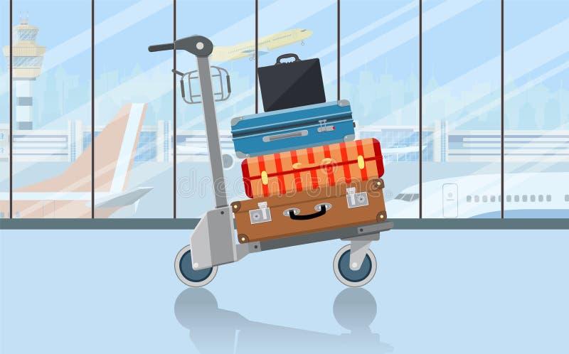 Flygplatsbagagespårvagn med resväskor royaltyfri illustrationer