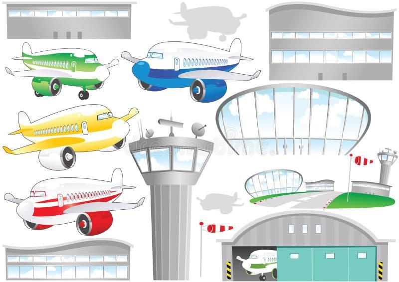 Flygplatsbeståndsdelar stock illustrationer