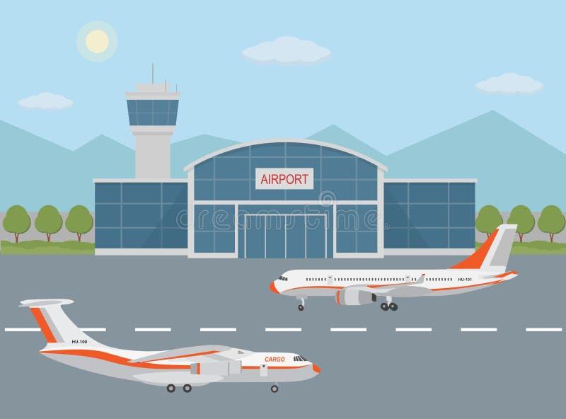 Flygplatsbyggnad och flygplan på landningsbana stock illustrationer