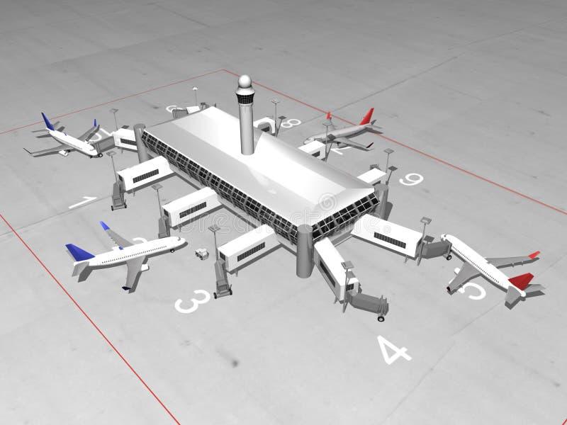 flygplatsen 3d framför royaltyfri illustrationer