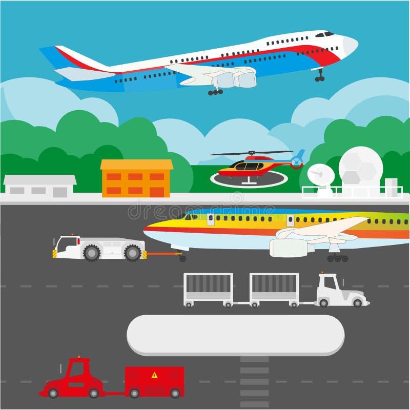 Flygplatslägenhetdetaljer och vektorbeståndsdelar royaltyfri illustrationer