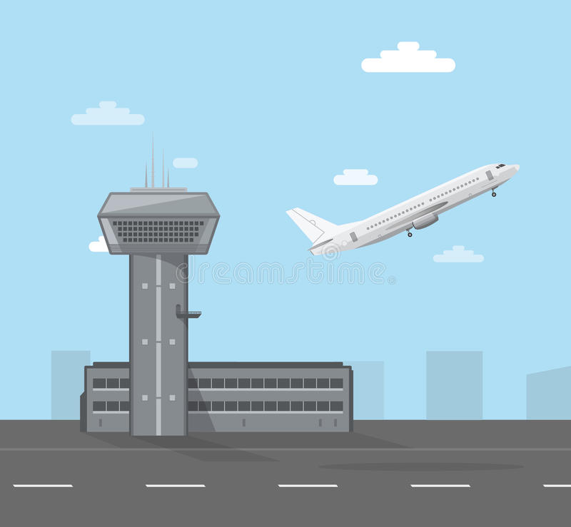 Flygplatslägenhetstil vektor illustrationer