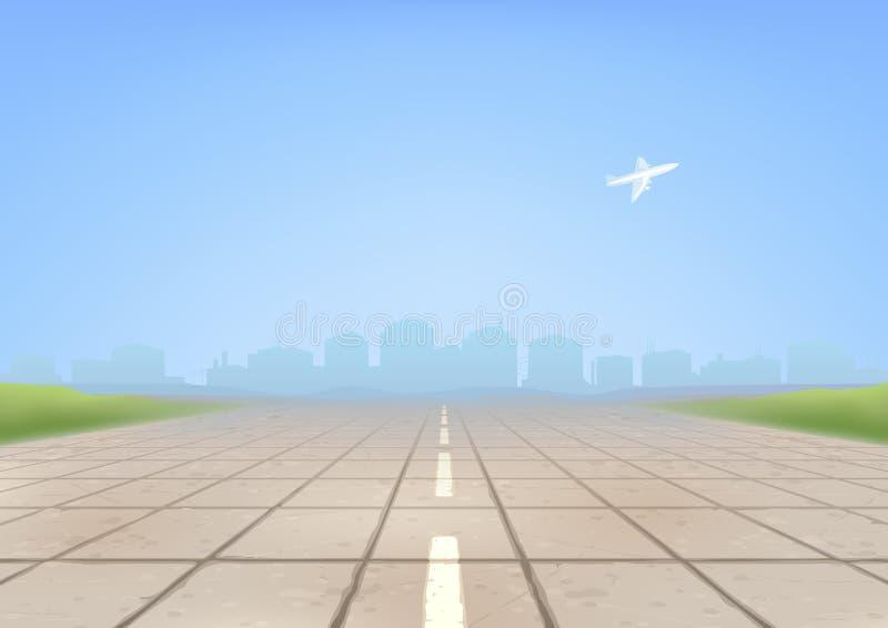 flygplatslandningsbana stock illustrationer