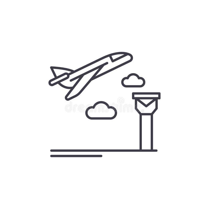 Flygplatslinje symbolsbegrepp Linjär illustration för flygplatsvektor, symbol, tecken stock illustrationer