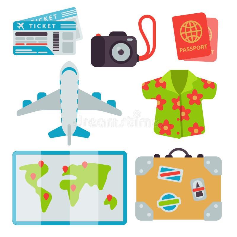 Flygplatsloppsymboler sänker illustrationen för vektorn för trans. för nivån för bagage för turismresväskapasset vektor illustrationer