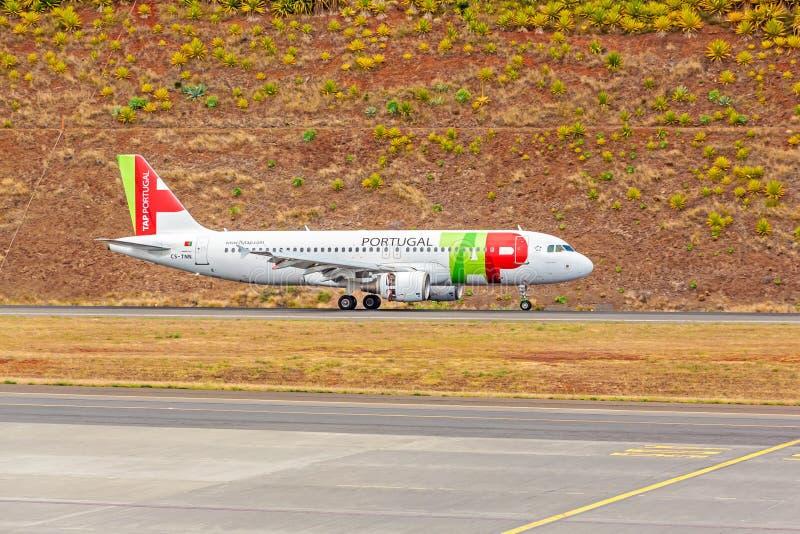 Flygplatsmadeira - flygbuss A320 arkivbilder