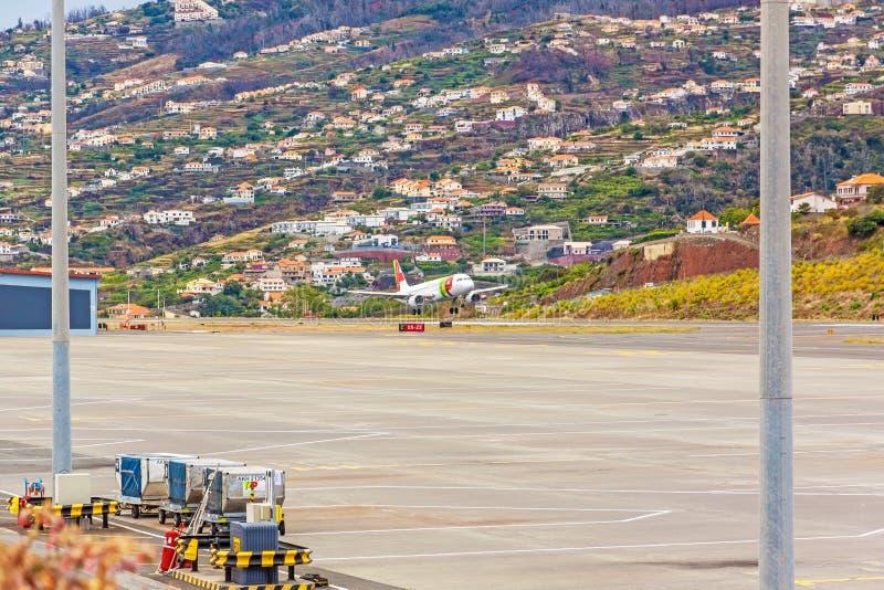 Flygplatsmadeira - flygbuss A318 royaltyfria foton
