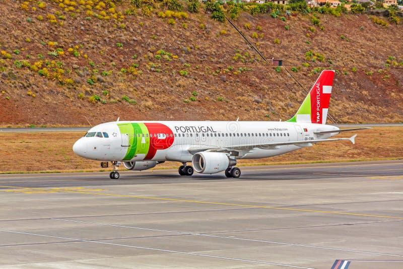 Flygplatsmadeira - flygbuss A320 arkivfoton