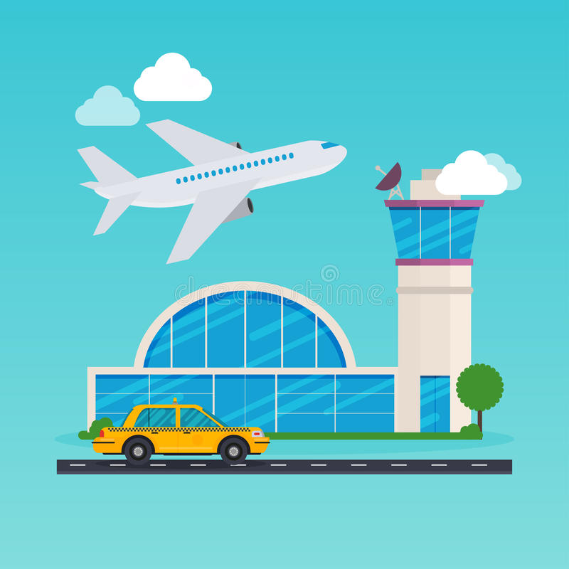 Flygplatsområdesillustration stock illustrationer