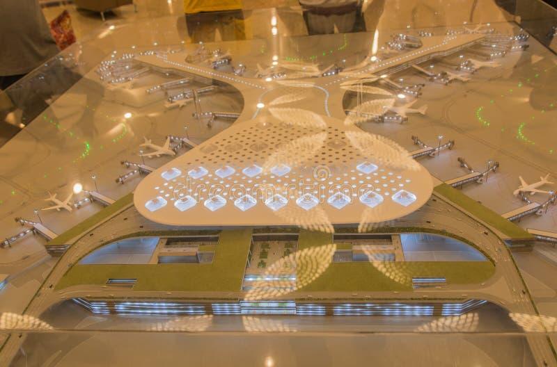 Flygplatsprototypminiatyrmodell, Mumbai flygplats arkivbild