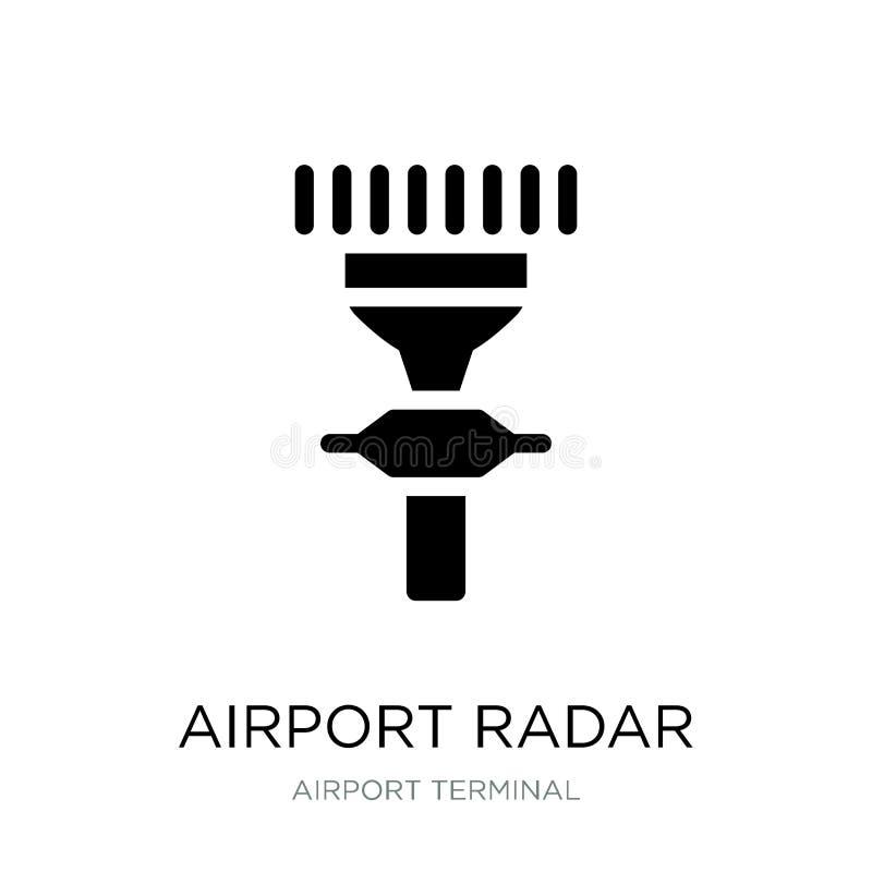 flygplatsradarsymbol i moderiktig designstil flygplatsradarsymbol som isoleras på vit bakgrund enkel symbol för flygplatsradarvek royaltyfri illustrationer