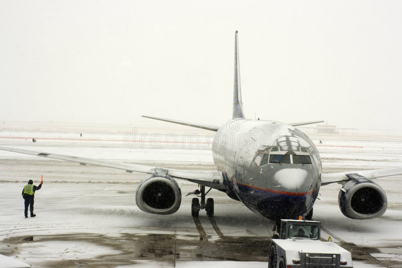 flygplatssnowstorm arkivbilder