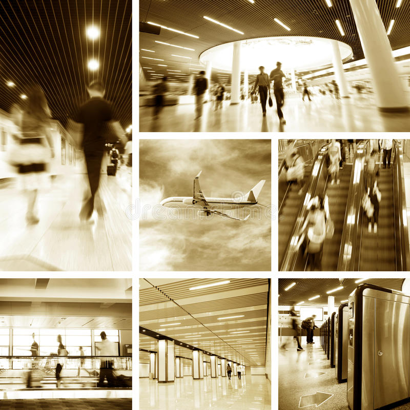 flygplatsstationsgångtunnel arkivbilder