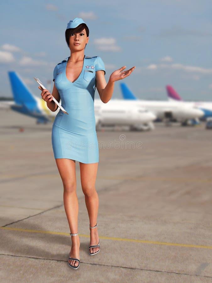 flygplatsstewardess royaltyfria foton