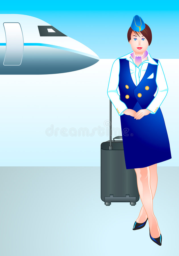 flygplatsstewardess stock illustrationer