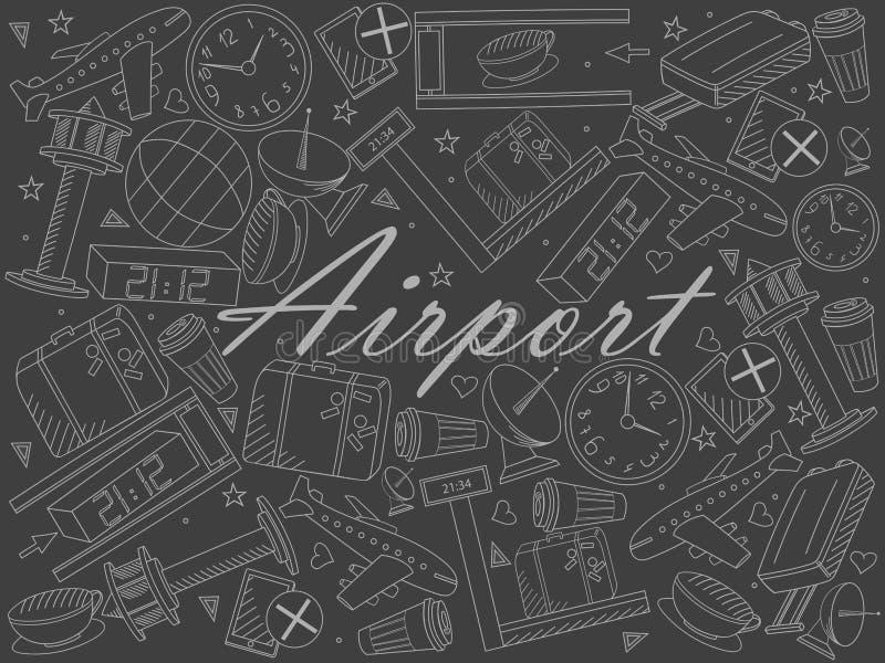 Flygplatsstycke av kritalinjen illustration för konstdesignvektor royaltyfri illustrationer