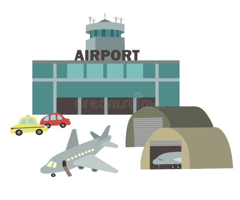 Flygplatsvektorteckning i stilen av barns illustration royaltyfri illustrationer