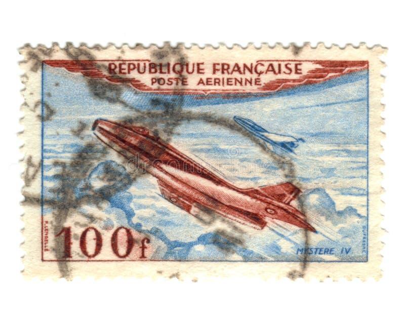 flygpost gammal portostämpel arkivbild