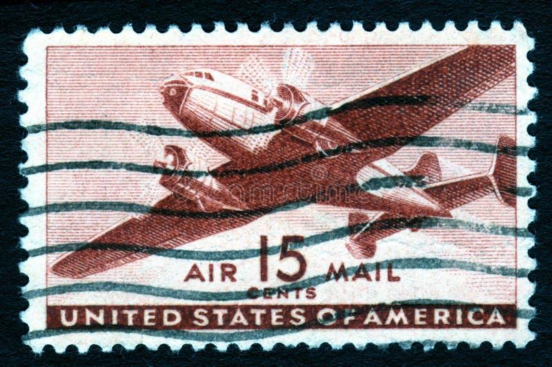 flygpost USA-tappning för stämpel 15c royaltyfri bild