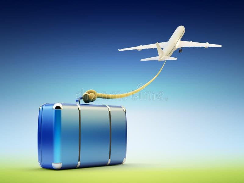 Flygresa och turism-, bagage- och bagagevagn vektor illustrationer