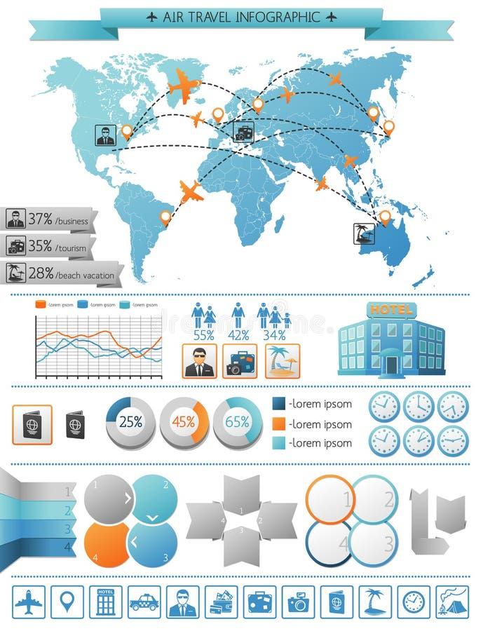 FlygresaInfographic begrepp stock illustrationer