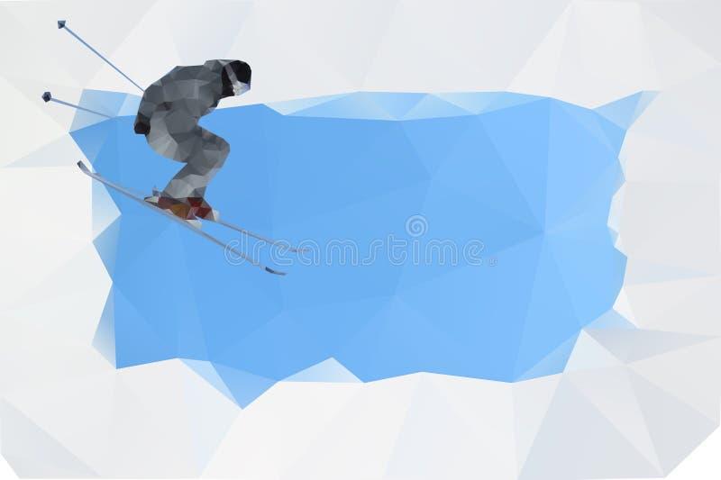 Flygskier på berg, vektor vektor illustrationer