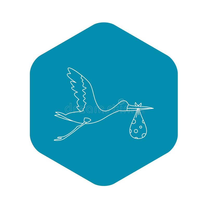 Flygstorken med behandla som ett barn symbolen, översiktsstil stock illustrationer