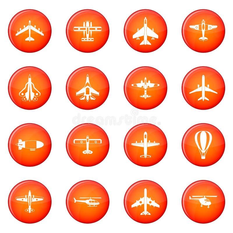 Flygsymbolsuppsättning stock illustrationer