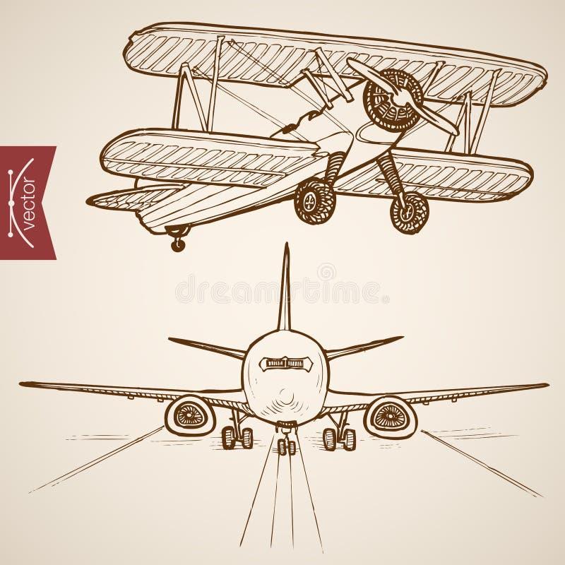 Flygtransport för vektor för gravyrtappning hand dragen royaltyfri illustrationer