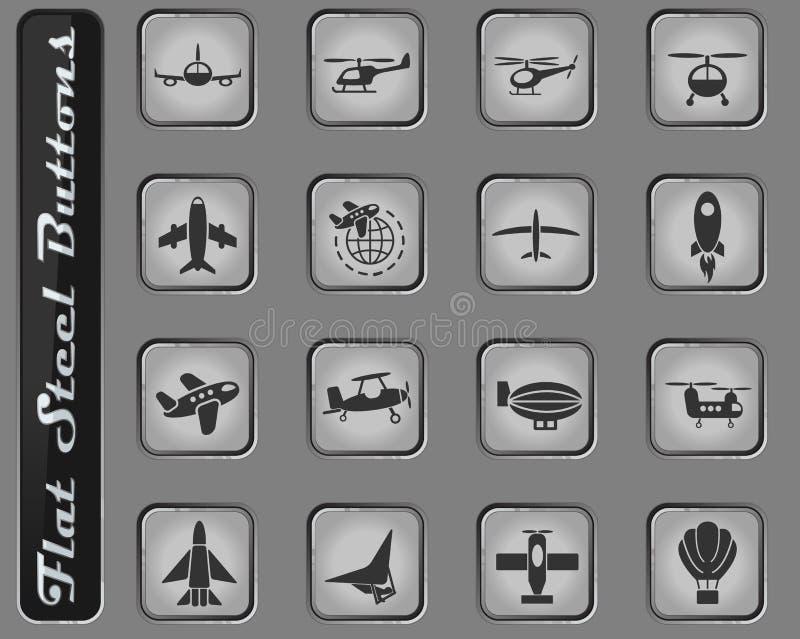 Flygtransportsymbolsuppsättning royaltyfri illustrationer