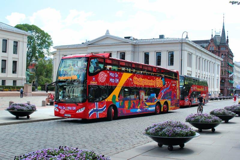Flygtur-på flygtur-Avsightbussen i Oslo Norge fotografering för bildbyråer