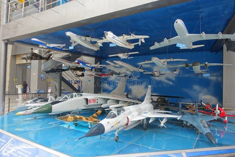 Flygutställning i Sichuan vetenskap och teknikmuseum royaltyfria bilder